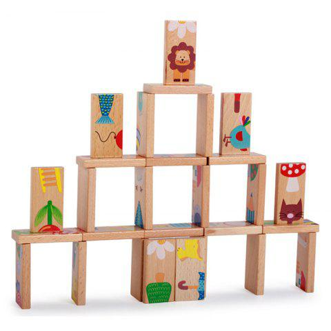 Affordable Animal Colored Dominoes Wooden Puzzle Cartoon Educational Baby Toy
