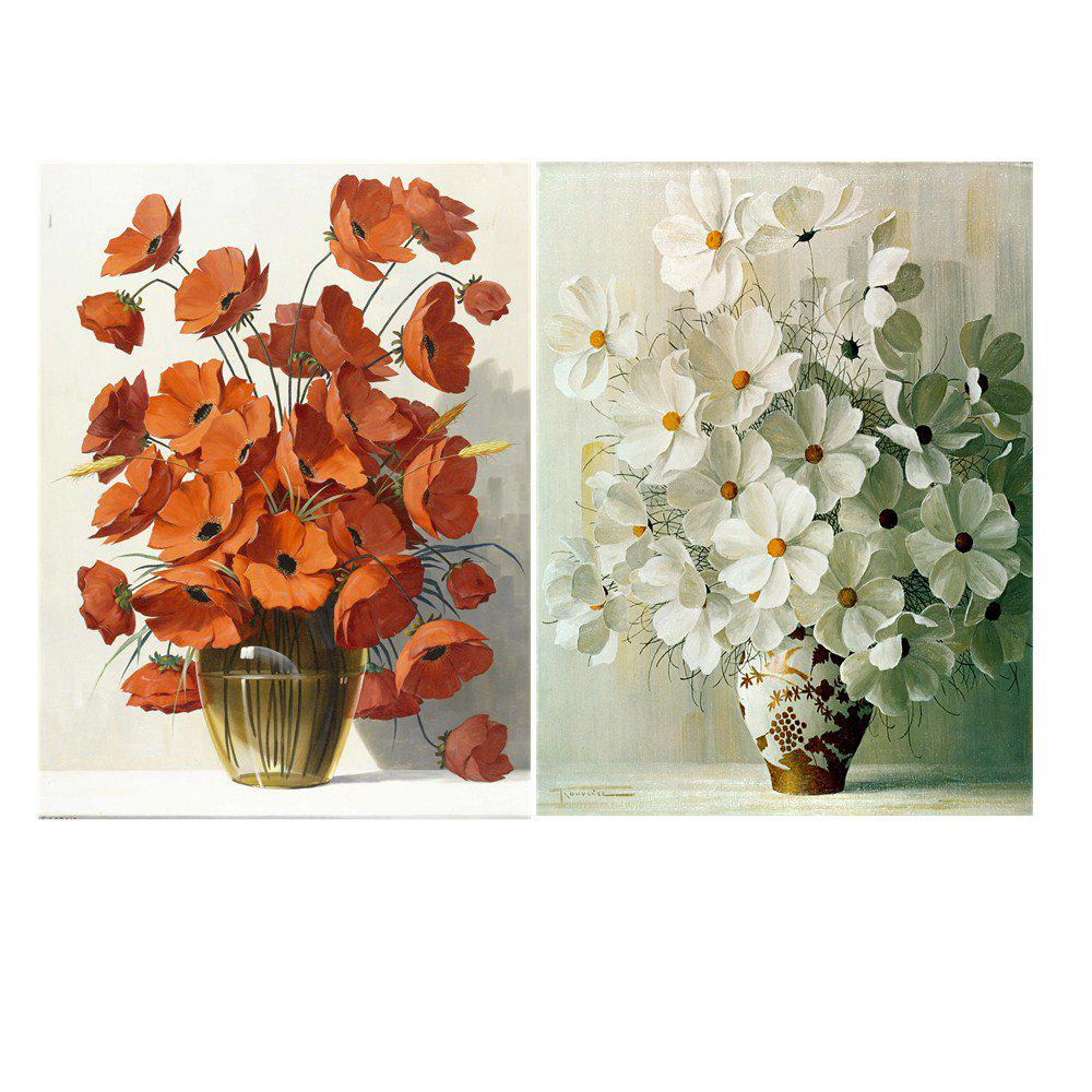 Nordic Simple Frameless Floral Ornemental Peinture à l'huile 2PCS
