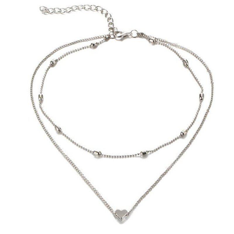 Mesdames mode simple coeurs multicouche collier