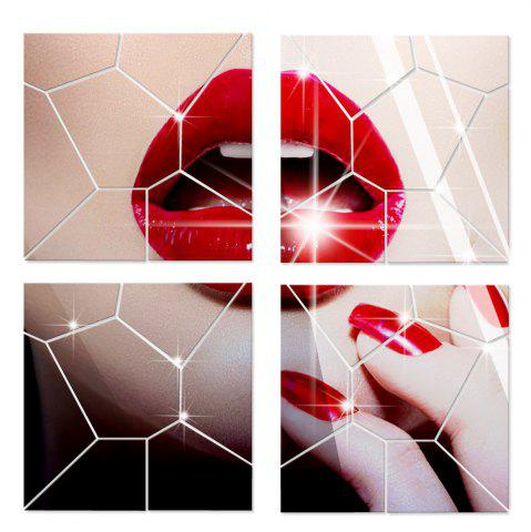 Latest Mirror Wall Stickers Crack Geometrical Shape Crystal Mirrored Decorative Tiles