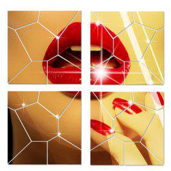 Mirror Wall Stickers Crack Geometrical Shape Crystal Mirrored Decorative Tiles -