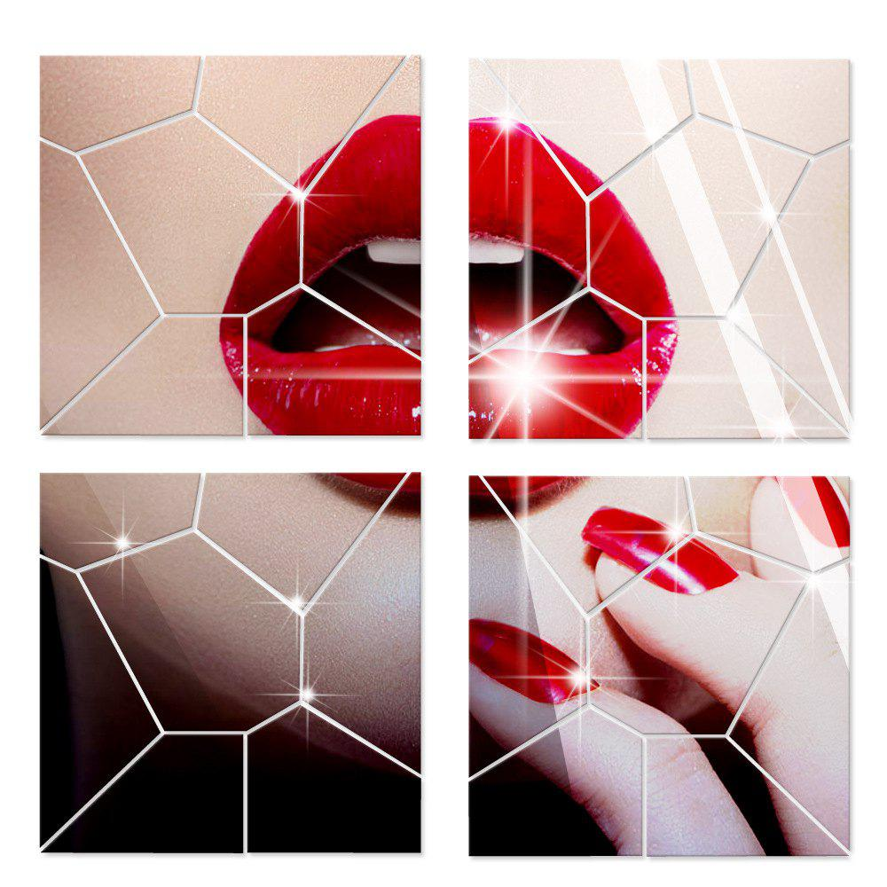 Cheap Mirror Wall Stickers Crack Geometrical Shape Crystal Mirrored Decorative Tiles