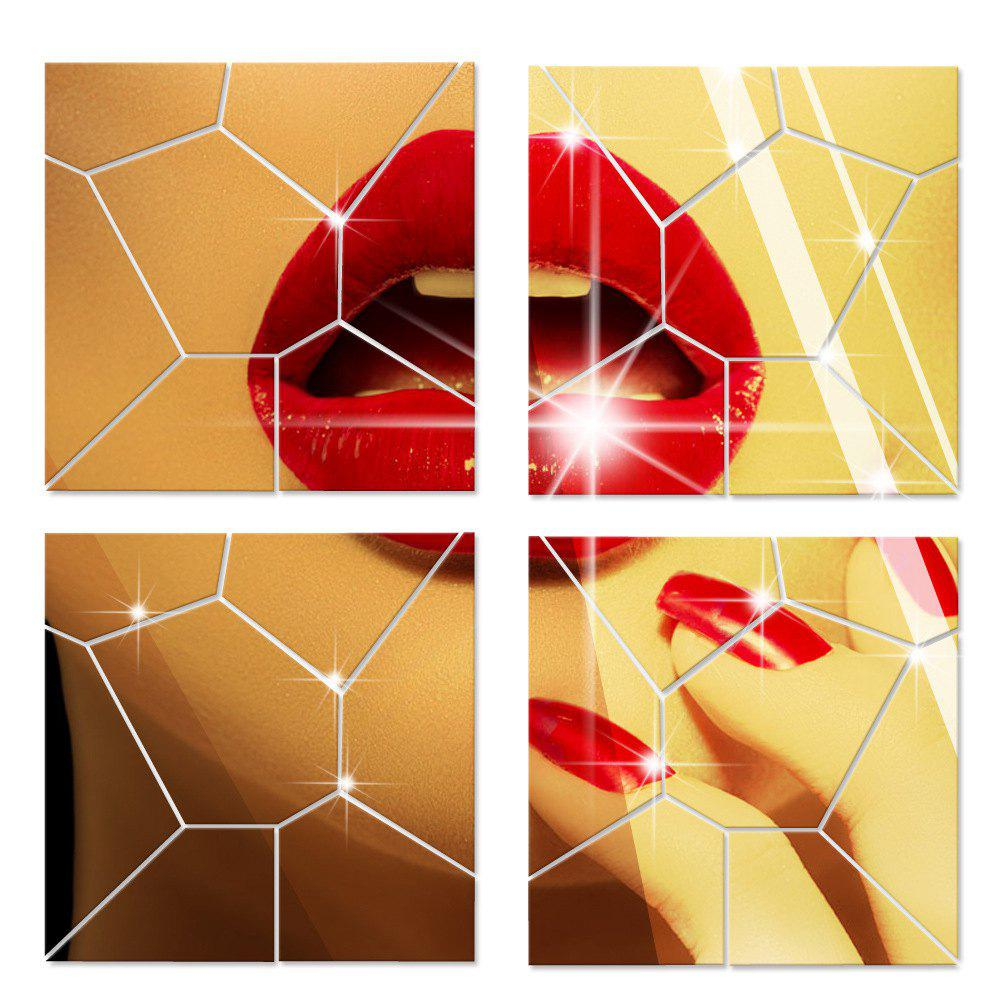 Online Mirror Wall Stickers Crack Geometrical Shape Crystal Mirrored Decorative Tiles