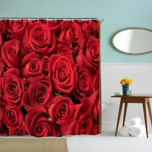 Red Rose Water-Proof Polyester 3D Printing Bathroom Shower Curtain -