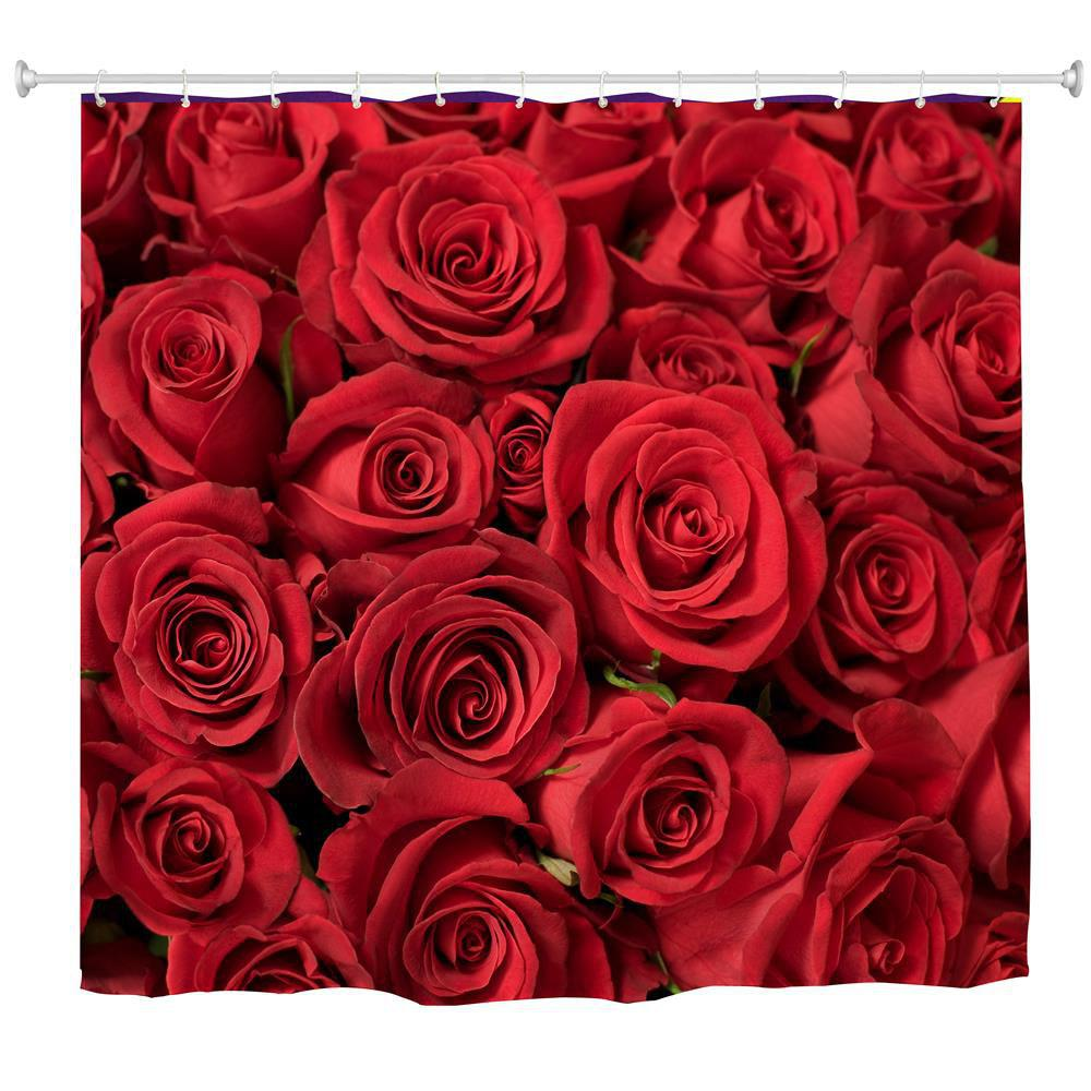 New Red Rose Water-Proof Polyester 3D Printing Bathroom Shower Curtain