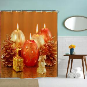Aromatherapy Candles Water-Proof Polyester 3D Printing Bathroom Shower Curtain -