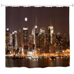 Midnight Manhattan Water-Proof Polyester 3D Printing Bathroom Shower Curtain -