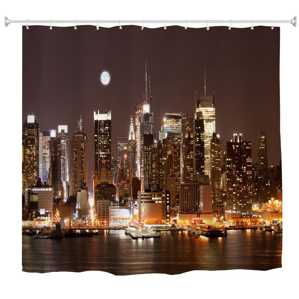 Sale Midnight Manhattan Water-Proof Polyester 3D Printing Bathroom Shower Curtain
