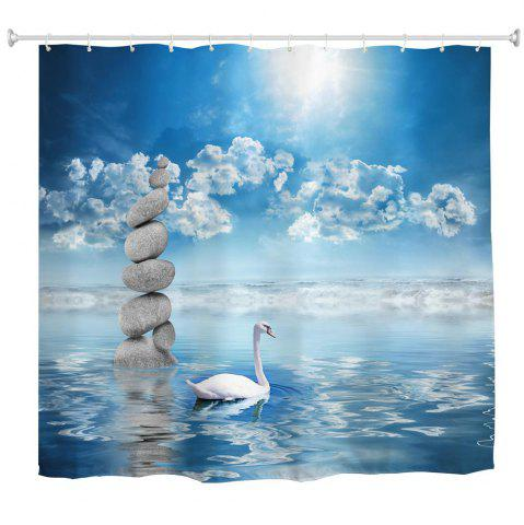 Shops The Swan in The Water Water-Proof Polyester 3D Printing Bathroom Shower Curtain
