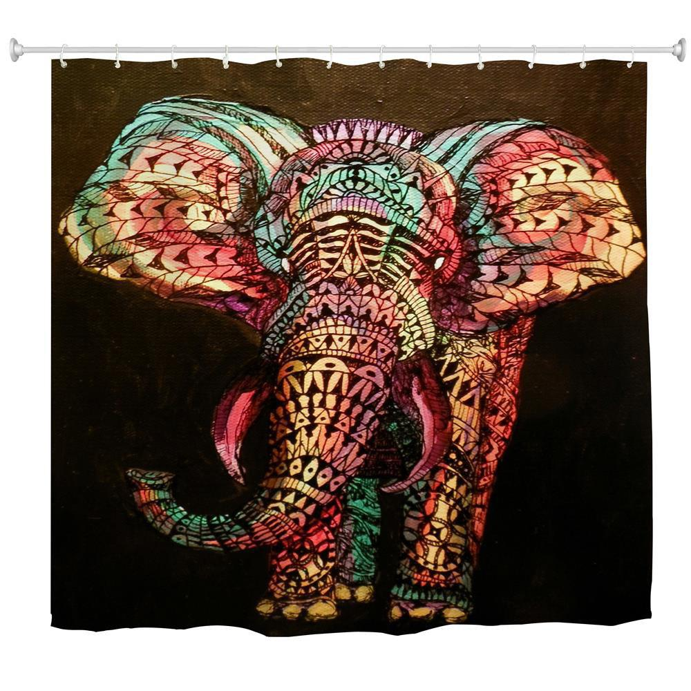 Discount Oil Painting Elephant Water-Proof Polyester 3D Printing Bathroom Shower Curtain