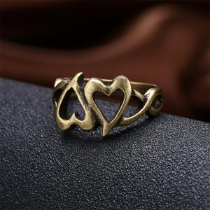 Vintage Hollow Out Double Heart Ring Charm Jewelry -