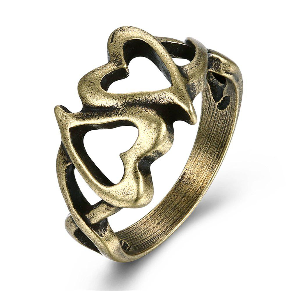 Cheap Vintage Hollow Out Double Heart Ring Charm Jewelry