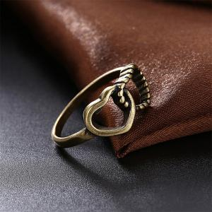 Creative Vintage Hollow Out Double Heart Ring Charm Jewelry -