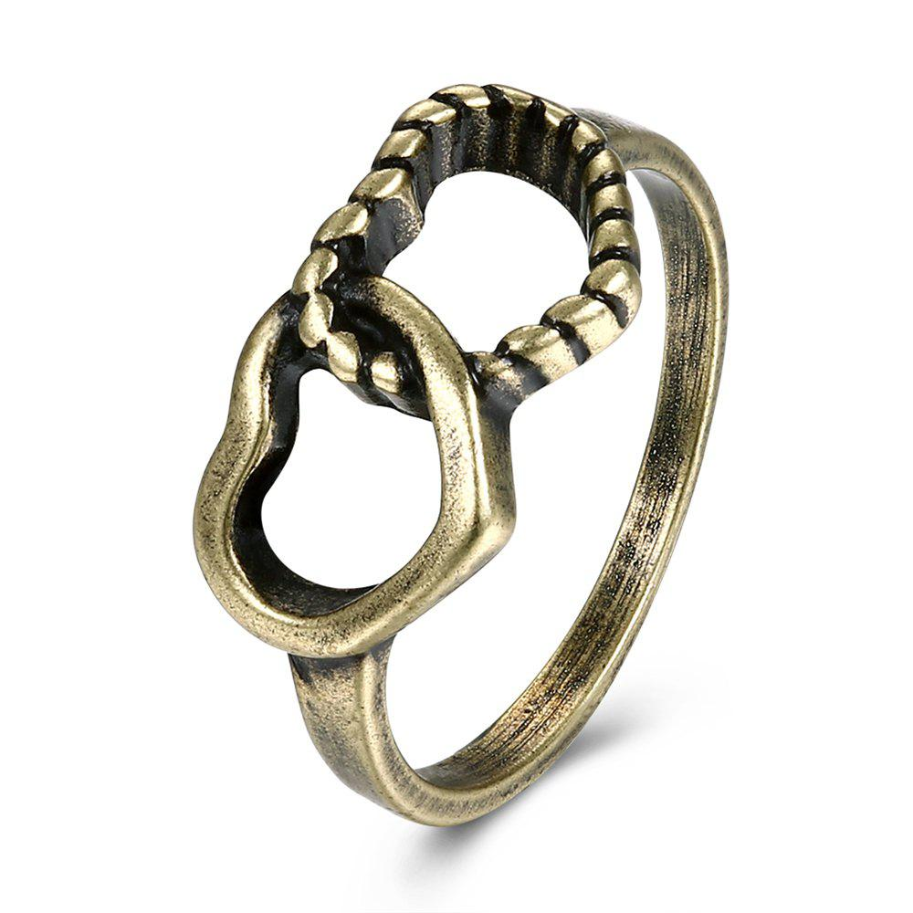 Hot Creative Vintage Hollow Out Double Heart Ring Charm Jewelry