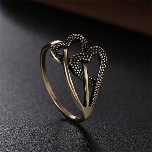Vintage Romantic Hollow Out Double Heart Ring -