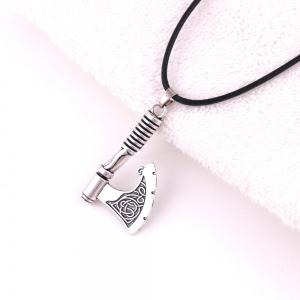 Slavic Vintage Axe Leather Rope Necklace Men Jewerly -