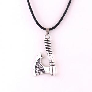 Slave Vintage Axe Collier en cuir de corde Men Jewerly -