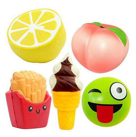 Fashion Jumbo Squishy Slow Rebound Toy PU Simulation Fruit Food 5PCS