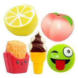 Jumbo Squishy Slow Rebound jouet PU Simulation fruits aliments 5 PCS -