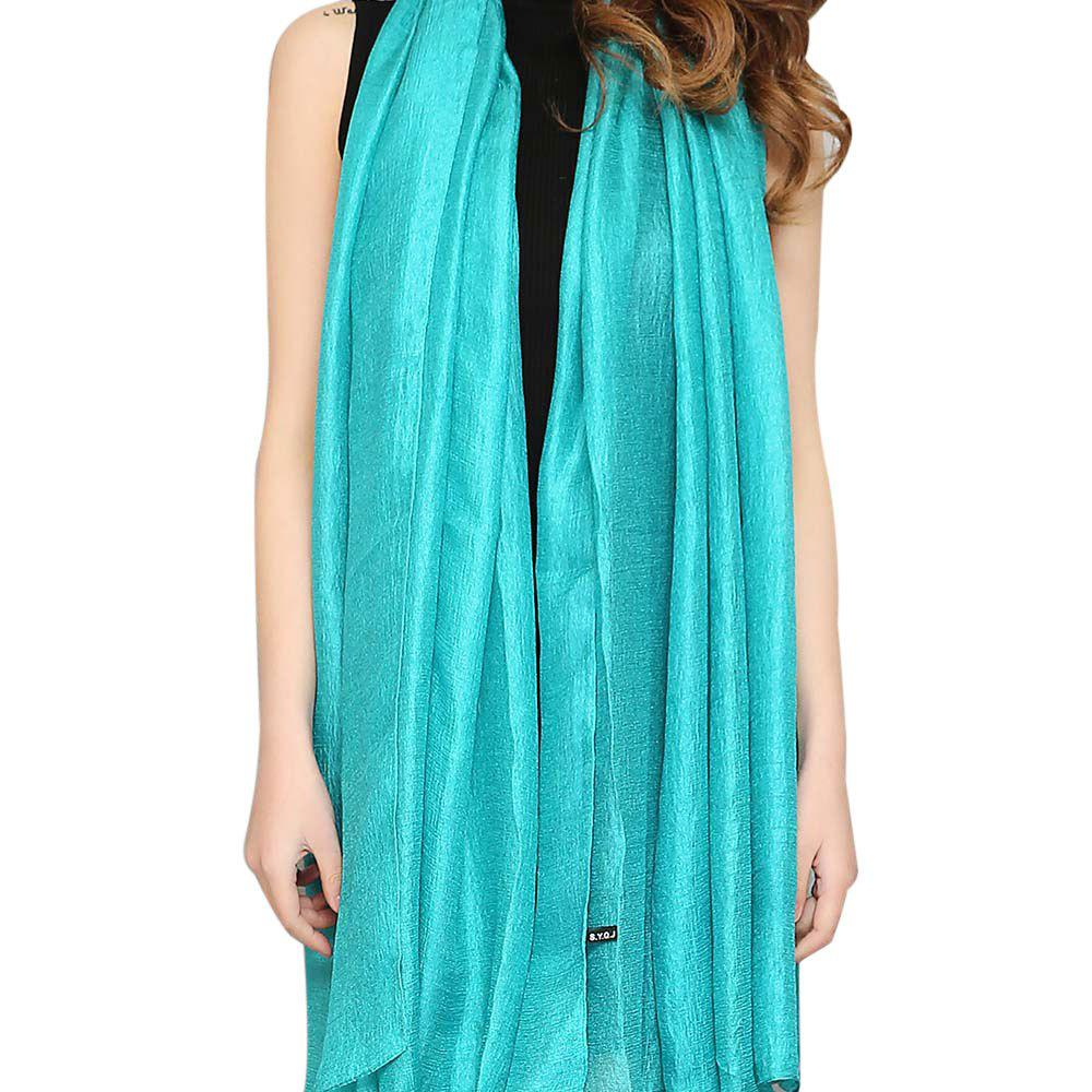 Affordable Solid Color Scarf Pearlescent Texture Holland Long Silk Shawl
