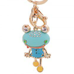 Cute Trinket Rhinestone Car Key Chains Gold Coin Frog Keychain Animal Keyrings -