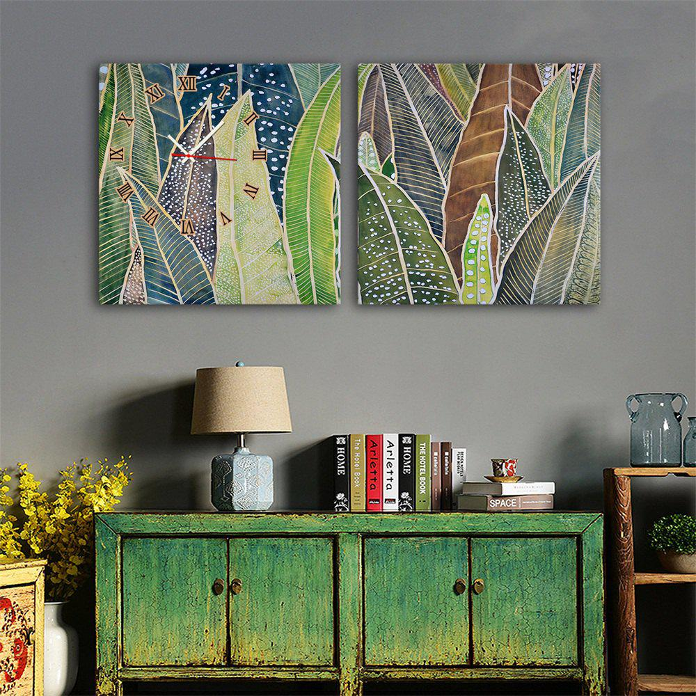 Outfit Special Design Frame Paintings Banana Leaf Print 2PCS