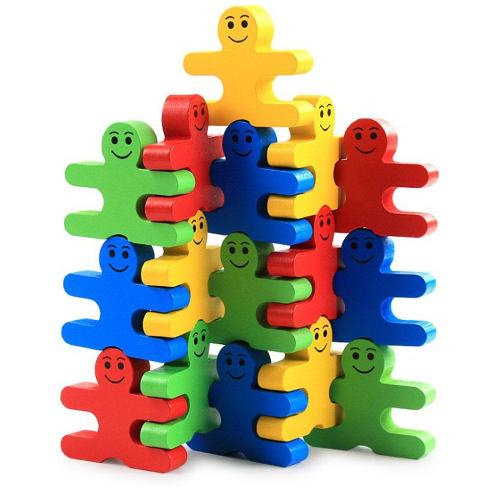 Affordable Creative Puzzle Wood Cartoon Balance Small People Building Blocks