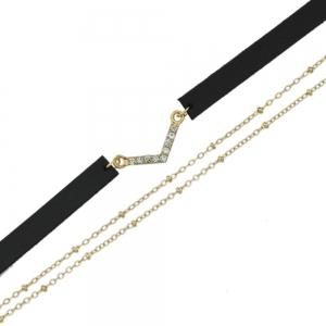 Collier multicolore en cuir PU -