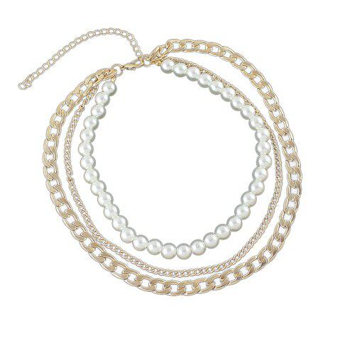 Discount Silver Gold-color Chain with Simulated-pearl Statement Necklace
