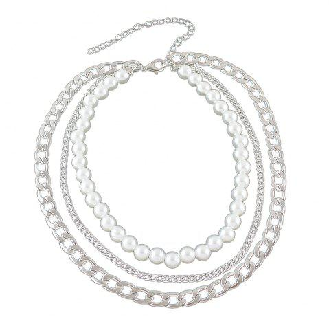 Affordable Silver Gold-color Chain with Simulated-pearl Statement Necklace