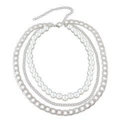 Silver Gold-color Chain with Simulated-pearl Statement Necklace -