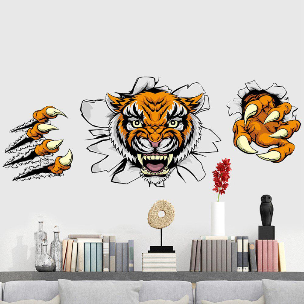 Autocollant de mur de dessin animé 3D Tiger Adornment Creative