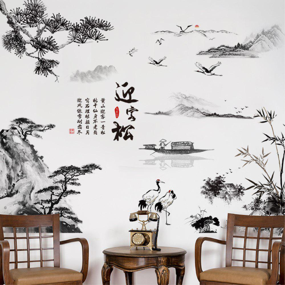 Sale Creative Decoration Cartoon 3D Landscape Greeting Pine Wall Sticker