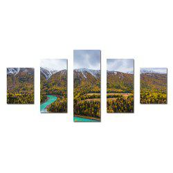 W336 Mountain and Trees Unframed Wall Canvas Prints for Home Decorations 5PCS -