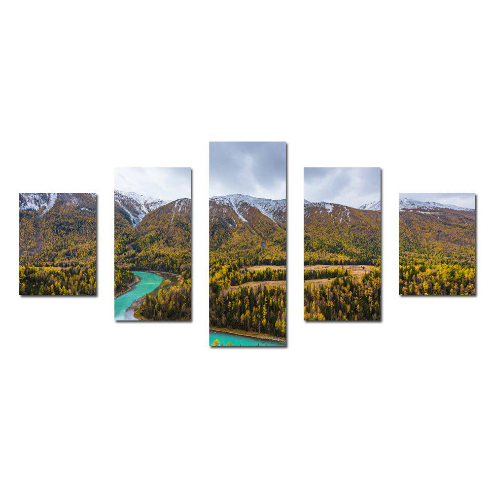 Affordable W336 Mountain and Trees Unframed Wall Canvas Prints for Home Decorations 5PCS