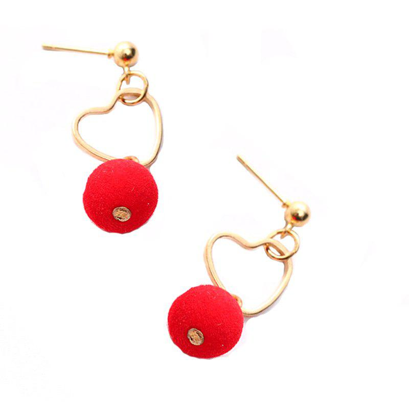 Outfits Metal Hollow Heart Cotton Ball Pendant Drop Earrings For Women Fashion Summer