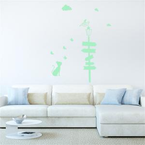 Noctilucent Engraving Adorable Guidepost Cartoon Switch Sticker Wall -