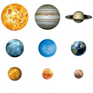 Noctilucent Engraving Nine Planets Cartoon Switch Wall Sticker -