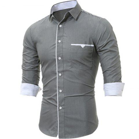 Affordable New Patch Pockets Men's Casual Slim Long-Sleeved Shirt