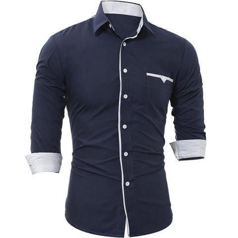 Cheap New Patch Pockets Men's Casual Slim Long-Sleeved Shirt