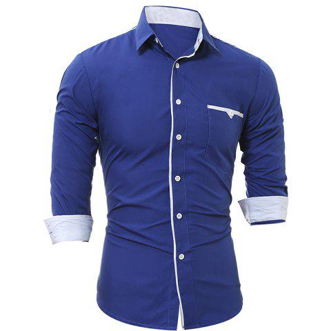 Outfits New Patch Pockets Men's Casual Slim Long-Sleeved Shirt