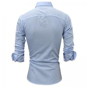 Classic Lined-Lined Lingge Men Casual Long-Sleeved Shirt -