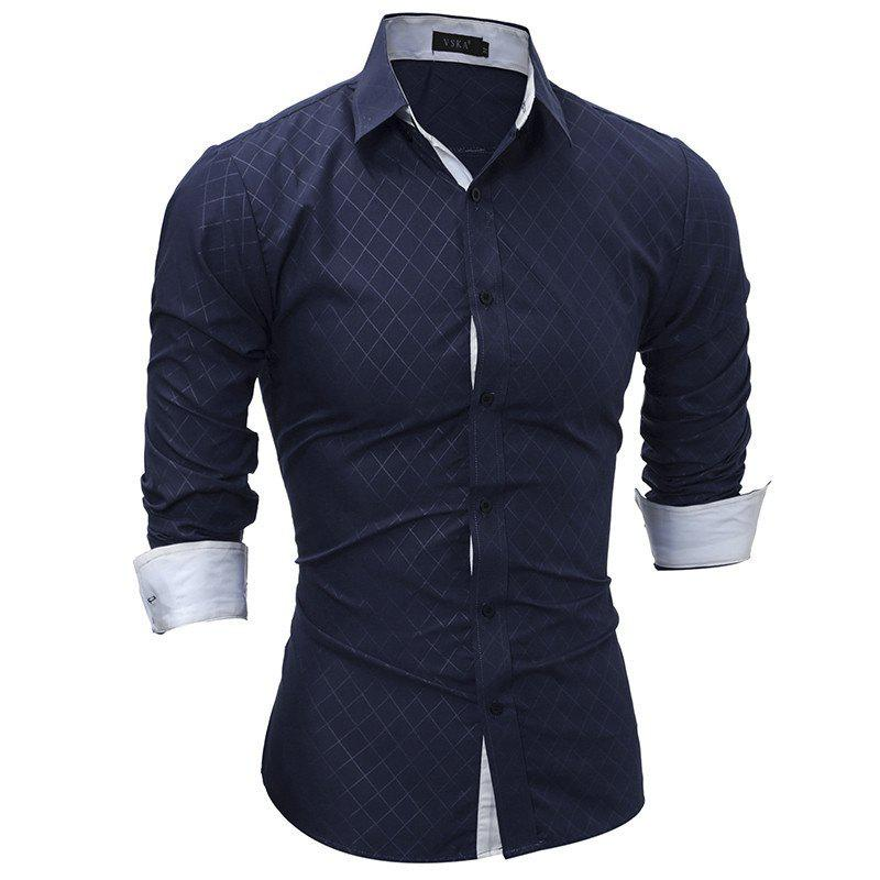 Outfits Classic Lined-Lined Lingge Men Casual Long-Sleeved Shirt