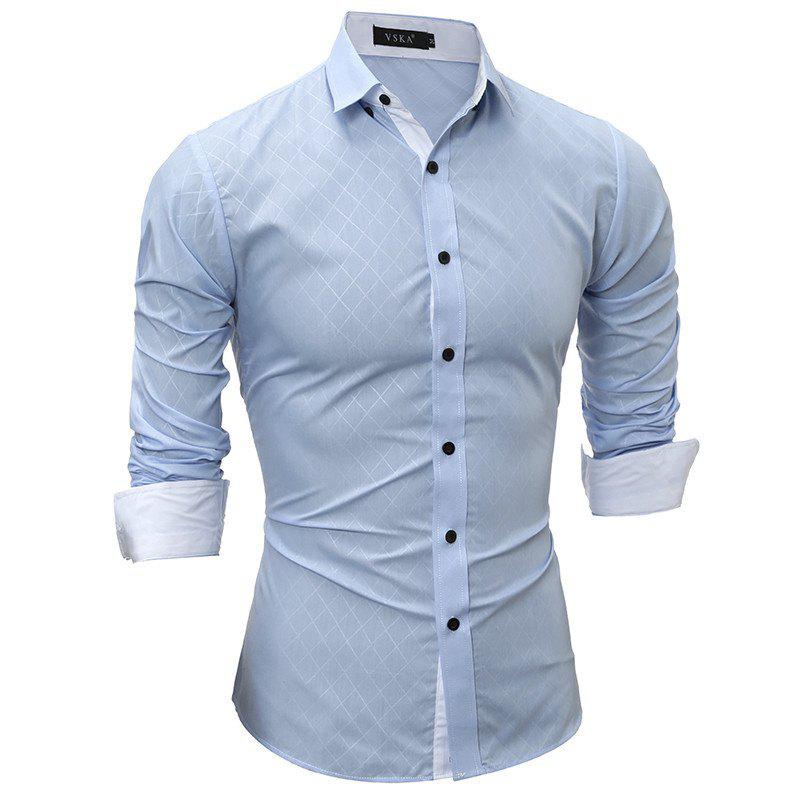 Buy Classic Lined-Lined Lingge Men Casual Long-Sleeved Shirt