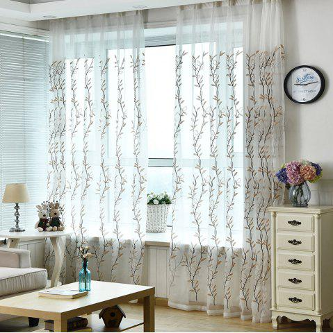 Latest American Rural Blue Embroidered Gauze Curtain
