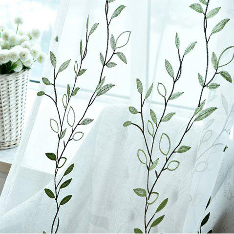 Fashion American Rural Blue Embroidered Gauze Curtain