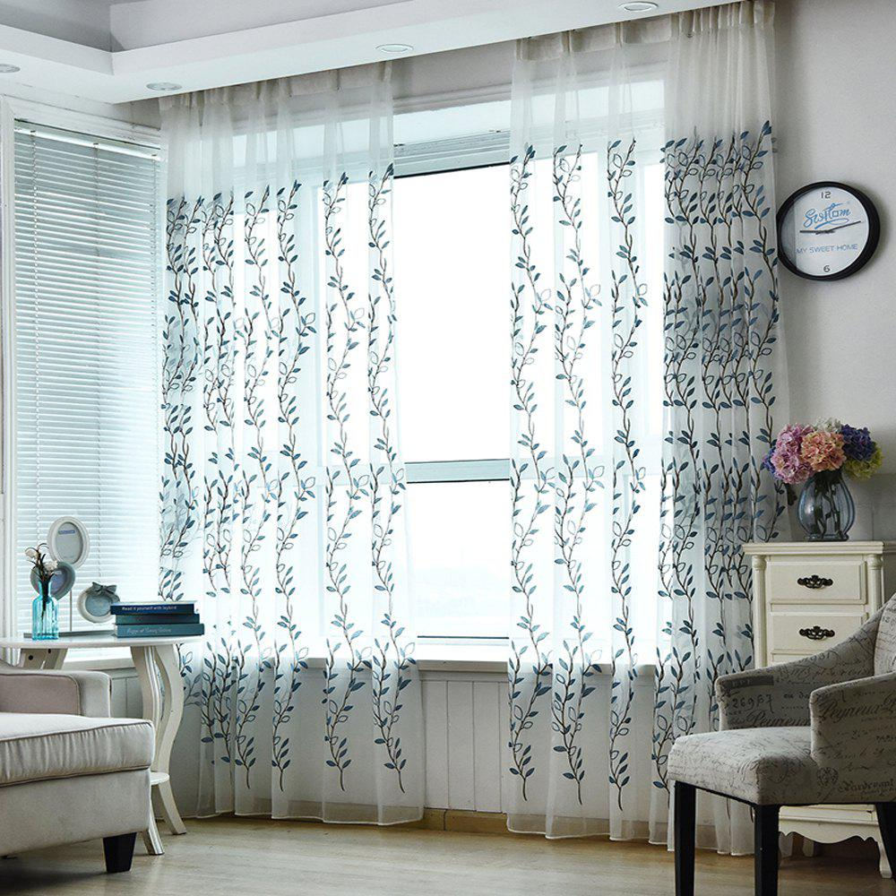 Chic American Rural Blue Embroidered Gauze Curtain