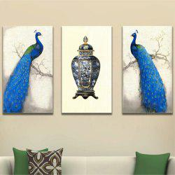 Auspicious Peacock's Frameless Decorative Oil Painting 3PCS -