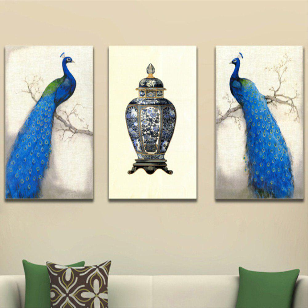 Fashion Auspicious Peacock's Frameless Decorative Oil Painting 3PCS