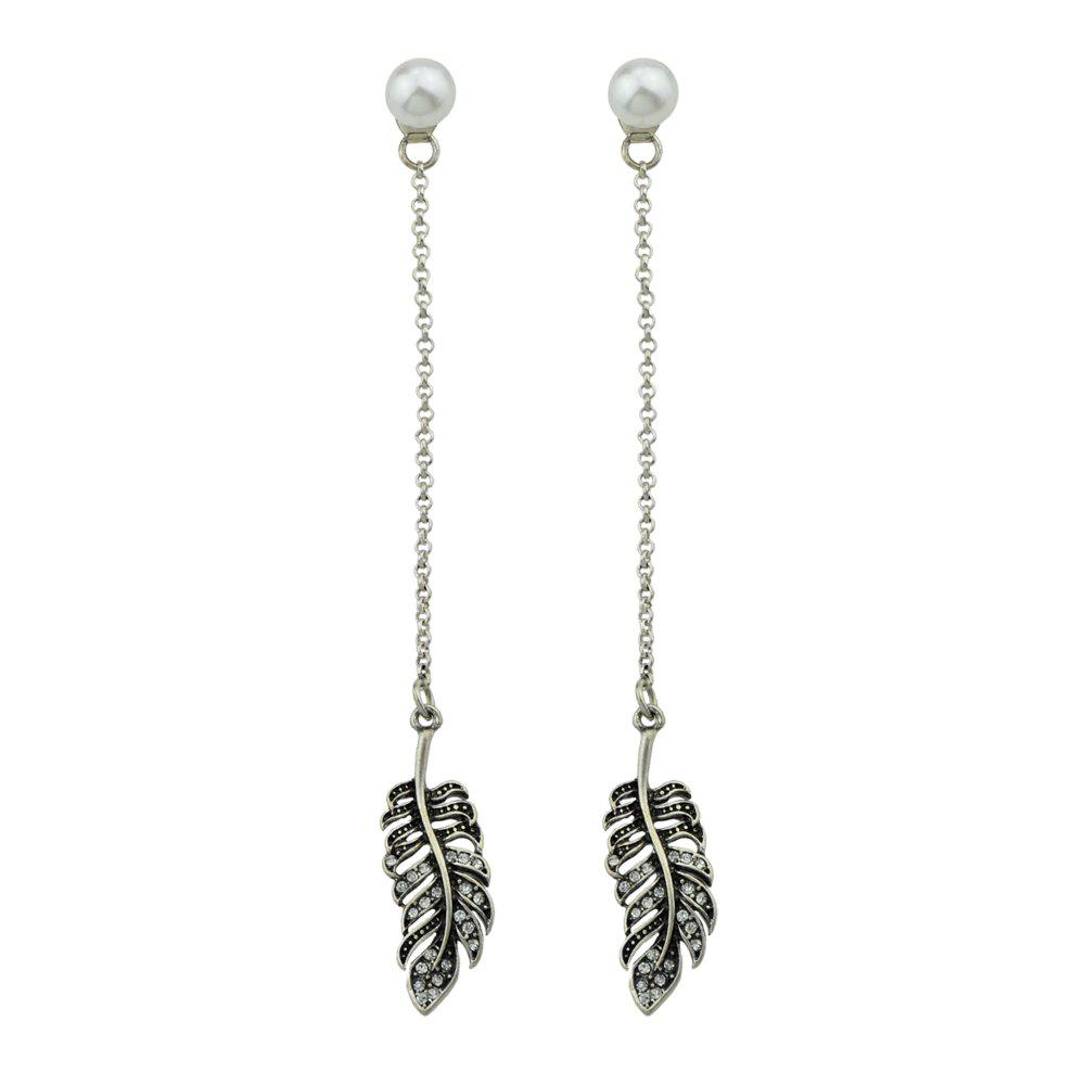 Chic Silver Color Long Chain Feather Dangle Earrings